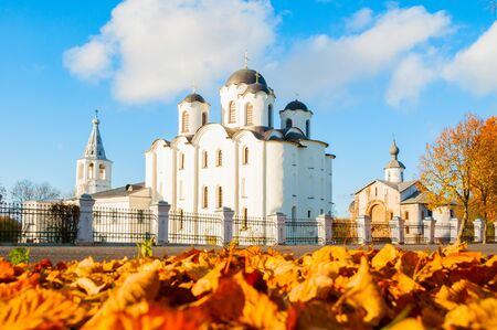 Veliky Novgorod, Russia. Panoramic view of churches at Yaroslav Courtyard with St Nicholas cathedral at the center. Architecture autumn landscape of Veliky Novgorod, Russia