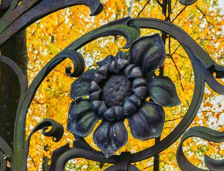 Autumn in St Petersburg - decorative detail in the form of flower at the fence of the Mikhailovsky Garden in St Petersburg, Russia in autumn day. Autumn architecture view of St Petersburg Banco de Imagens