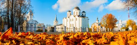 Veliky Novgorod, Russia. Panorama of churches at Yaroslav Courtyard with St Nicholas cathedral at the center. Architecture autumn city scene of Veliky Novgorod, Russia