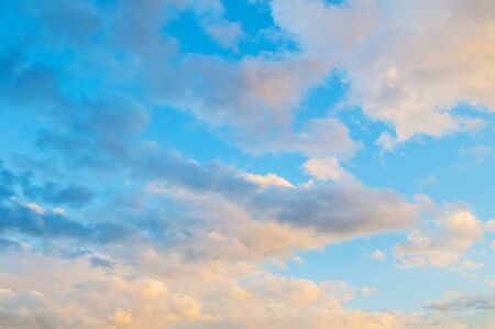 Dramatic sky background - picturesque colorful clouds lit by sunlight. Vast sky landscape panoramic scene, colorful evening sky Stock fotó