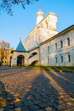 Belfry of St Sophia cathedral in Veliky Novgorod, Russia. Autumn view of Veliky Novgorod Russia landmark in sunny October evening Stock fotó