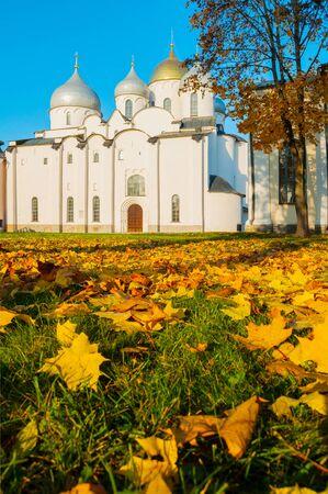 St Sophia cathedral in Veliky Novgorod, Russia. Autumn view of Veliky Novgorod Russia landmark in sunny October evening Stock fotó