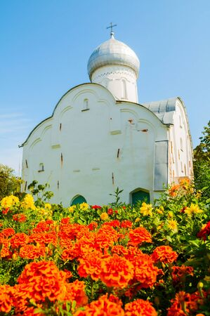 Veliky Novgorod, Russia. The ancient Blasius church in Veliky Novgorod, Russia. Focus at the church