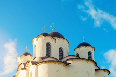Domes of Saint Nicholas Cathedral, ancient church in the Yaroslavs Courtyard in Veliky Novgorod, Russia