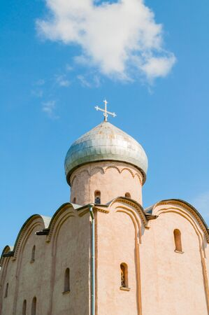 Veliky Novgorod, Russia. Saviour Church on Nereditsa - an orthodox church built in 1198, one of Russia's oldest churches in Veliky Novgorod, Russia. Closeup of dome