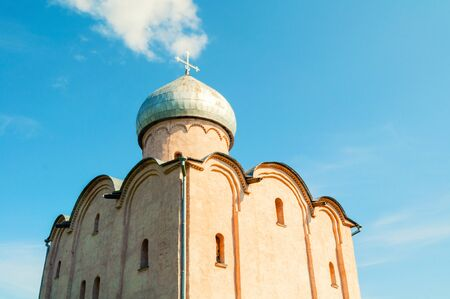 Veliky Novgorod, Russia. Saviour Church on Nereditsa - an orthodox church built in 1198, one of Russias oldest churches in Veliky Novgorod, Russia. Sunny view of Veliky Novgorod landmark