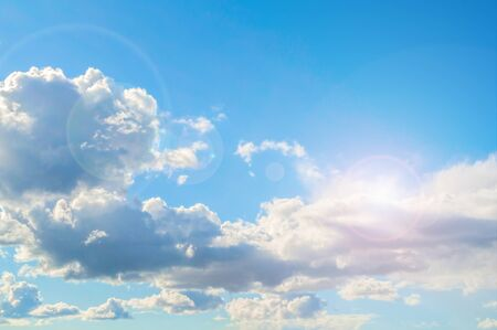 Dramatic blue sky background - picturesque colorful clouds lit by sunlight. Vast sky landscape panoramic scene, colorful sky view in soft tones