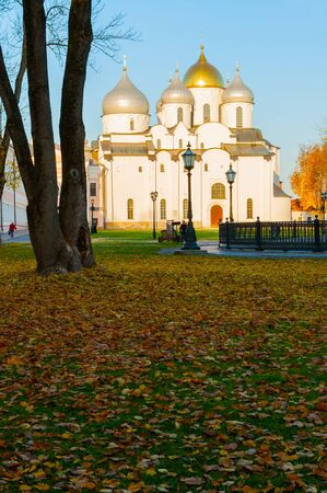 St Sophia Cathedral in Veliky Novgorod, Russia - autumn view. Focus at the cathedral