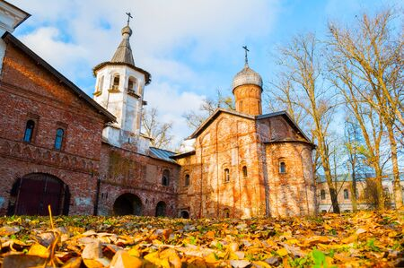 Veliky Novgorod, Russia. Church of the Annunciation at the Marketplace and bell tower in Veliky Novgorod, Russia. Autumn sunny October view