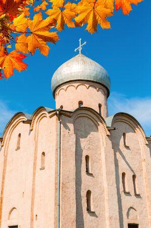 Veliky Novgorod, Russia. Saviour Church on Nereditsa - an orthodox church built in 1198, one of Russias oldest churches in Veliky Novgorod, Russia. Autumn October view Stock fotó