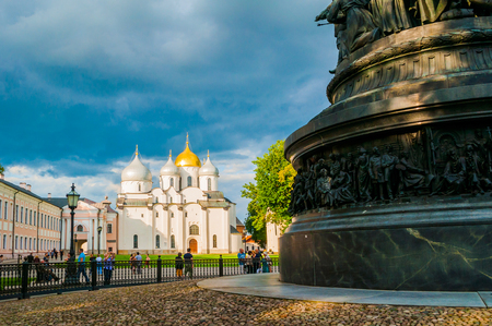 Veliky Novgorod,Russia-August 10, 2019. Monument Millennium of Russia on the background of St Sophia Cathedral in Veliky Novgorod, Russia - summer view. Focus at the monument Sajtókép