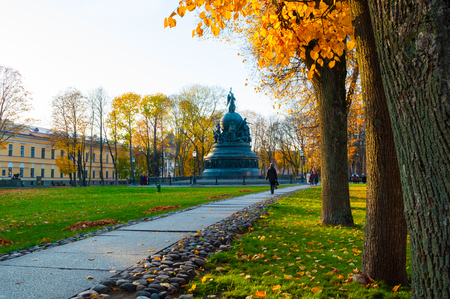 Veliky Novgorod, Russia - October 17, 2018. The bronze monument Millennium of Russia in the autumn Kremlin park in Veliky Novgorod, Russia. Autumn city sunny view