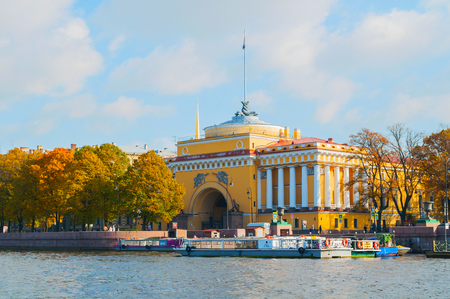St Petersburg, Russia -October 3, 2016. Admiralty arch on the embankment of Neva river in St Petersburg,Russia. Architecture landmark of St Petersburg in October sunny day Sajtókép