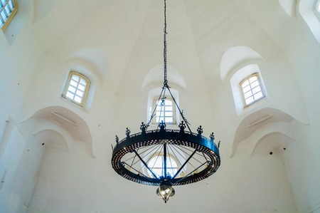 Veliky Novgorod,Russia-August 10, 2019. Church Of St George In The Marketplace. Interior view of windows and chandelier