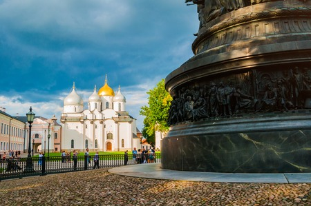 Veliky Novgorod,Russia - August 10, 2019. St Sophia Cathedral and wrought fence of Millennium of Russia monument. Veliky Novgorod landmarks on the background of dramatic clouds Sajtókép