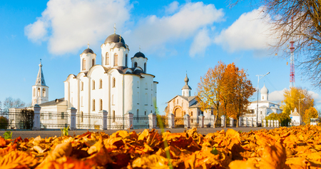 Veliky Novgorod, Russia. Panorama of churches at Yaroslav Courtyard with St Nicholas cathedral at the center. Architecture autumn city landscape of Veliky Novgorod, Russia