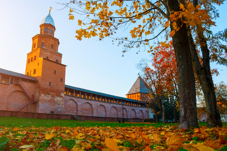 Veliky Novgorod, Russia. Intercession and Kokui towers of Veliky Novgorod Kremlin at autumn sunny day. Focus at the Kremlin towers. Autumn city landscape Sajtókép