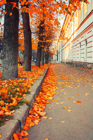 Veliky Novgorod, Russia. The Old Town district in Veliky Novgorod at autumn sunny morning. Autumn urban landscape