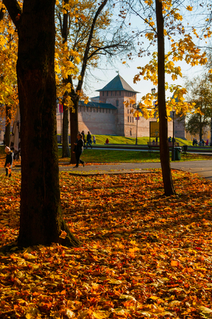 Veliky Novgorod, Russia - October 17, 2018. Towers of Veliky Novgorod Kremlin in sunny autumn morning. Autumn in Veliky Novgorod, Russia
