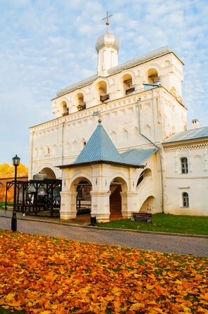 Veliky Novgorod, Russia - October 18, 2018. Belfry of St Sophia cathedral in Veliky Novgorod, Russia. Autumn October view of Veliky Novgorod Russia landmark in cloudy evening