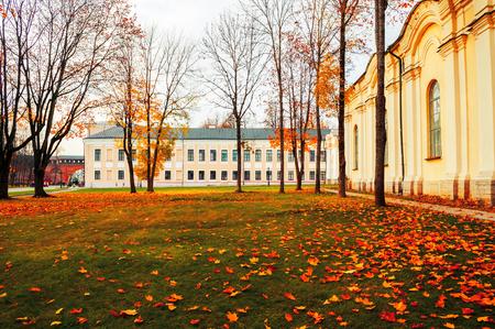 Veliky Novgorod, Russia - October 18, 2018. Veliky Novgorod Kremlin park in cloudy autumn day, Russia. Sunny view of Veliky Novgorod Russia landmarks Stock fotó - 129660540