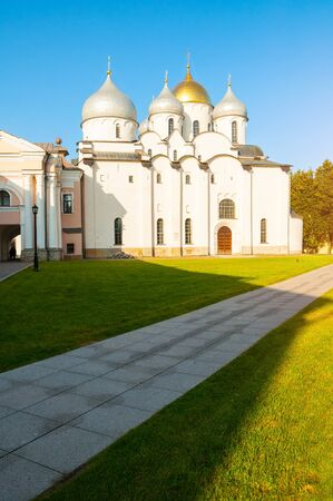 Veliky Novgorod, Russia. St Sophia Cathedral in the Kremlin park in Novgorod, Russia. Architecture sunny landscape