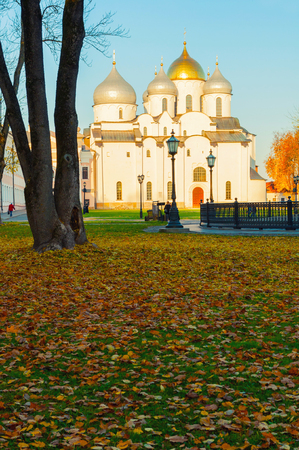 Veliky Novgorod, Russia - October 18, 2018. St Sophia Cathedral in Veliky Novgorod, Russia - autumn view. Focus at the cathedral