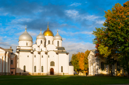 Veliky Novgorod, Russia - October 10, 2017. St Sophia Cathedral in Veliky Novgorod, Russia - autumn view. Focus at the cathedral Sajtókép