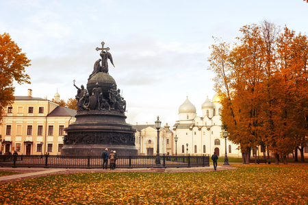 Veliky Novgorod, Russia - October 10, 2017. Monument Millennium of Russia on the background of St Sophia Cathedral in Veliky Novgorod, Russia - autumn view. Focus at the monument Sajtókép