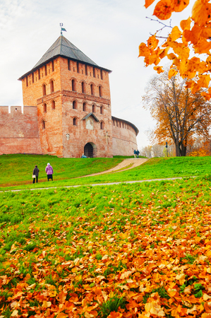 Veliky Novgorod, Russia - October 18, 2018. Vladimir tower of Veliky Novgorod Kremlin fortress in cloudy autumn day