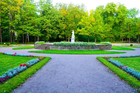 Pavlovsk, St Petersburg, Russia - September 21, 2017. Marble allegorical sculpture Peace in Pavlovsk park in Saint Petersburg region, Russia, autumn view