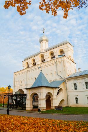 Veliky Novgorod, Russia - October 18, 2018. Belfry of St Sophia cathedral in Veliky Novgorod, Russia. Autumn October view of Veliky Novgorod Russia Orthodox landmark in cloudy evening Sajtókép