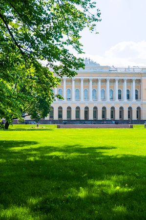 St Petersburg, Russia - June 6, 2019. Northern facade of Mikhailovsky palace, building of the State Russian museum. Architecture landscape of St Petersburg landmark Sajtókép