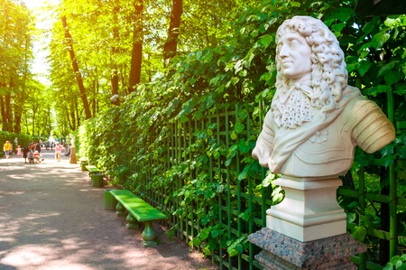 St Petersburg, Russia - June 6, 2019. The sculpture of Frederick I, Elector of Branburg, King of Prussia. Summer garden - the most famous garden of St Petersburg Russia Sajtókép