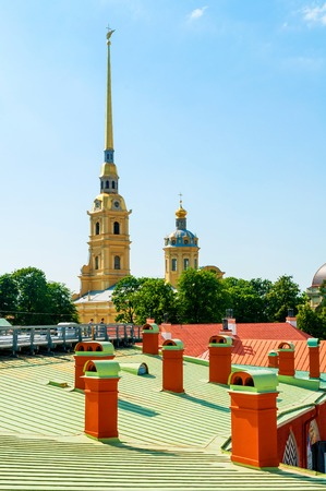 Saint Petersburg, Russia - June 6, 2019. Peter and Paul cathedral with belfry - summer view from height. Peter and Paul Fortress in St Petersburg, Russia