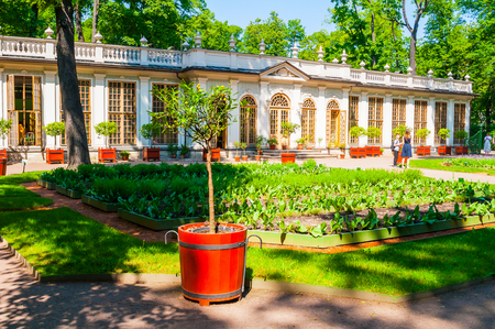 St Petersburg, Russia - June 6, 2019. Street cafe pavilion in Summer garden -the most famous garden of St Petersburg founded in 1704 by order of Peter the Great Sajtókép