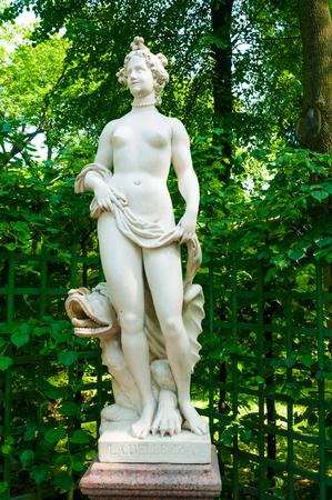 St Petersburg, Russia - June 6, 2019. The allegorical sculpture of Beauty in the Summer Garden. Summer garden - the most famous garden of Saint Petersburg Russia