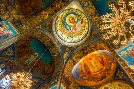 Saint Petersburg, Russia - April 5, 2019. Cathedral of Our Savior on Spilled blood - interior of St Petersburg landmark. Mosaics at the columns and central dome inside the cathedral