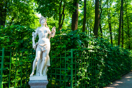 St Petersburg, Russia - June 6, 2019. Sculpture of Sibyl Libyan. Statue of the Summer Garden. Summer garden - the most famous garden of Saint Petersburg Russia