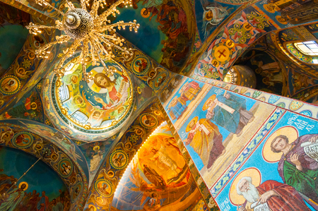 Saint Petersburg, Russia - April 5, 2019. Cathedral of Our Savior on Spilled blood - interior of St Petersburg landmark. Mosaics of t the columns and central dome inside the cathedral