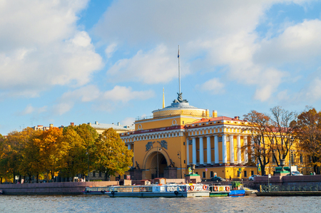 St Petersburg, Russia -October 3, 2016. Admiralty arch on the embankment of Neva river in St Petersburg,Russia. Architecture landmark of St Petersburg in autumn sunny afternoon Sajtókép