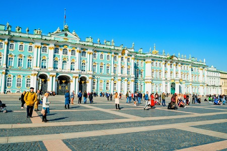 St Petersburg, Russia.State Hermitage Museum at Palace Square. Winter palace and its precincts form the Hermitage Museum 報道画像