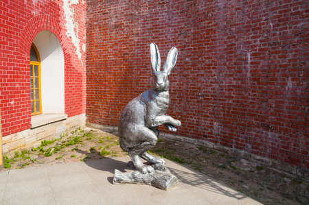 Big hare sculpture on the territory of Peter and Paul fortress in St Petersburg, Russia