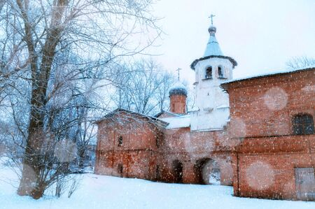 Veliky Novgorod, Russia. Church of the Annunciation at the Marketplace, connected to the church of the Archangel Michael by transition with a bell tower