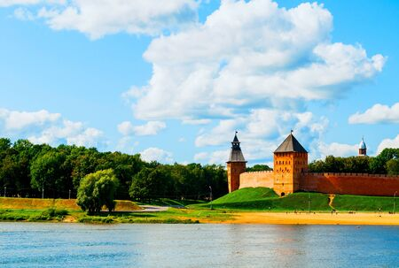 Veliky Novgorod Kremlin fortress at the bank of the Volkhov river in summer day in Veliky Novgorod, Russia - summer travel view