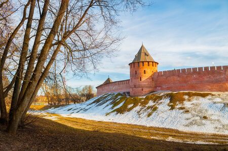 Veliky Novgorod Kremlin tower in early spring evening in Veliky Novgorod, Russia, panoramic view, hdr processing applied