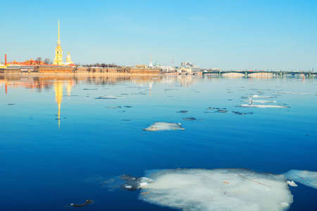 St Petersburg, Russia. Panorama of Saint Petersburg - architecture ensemble of Peter and Paul fortress and the Neva river in sunny spring weather