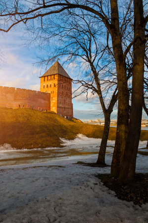 Veliky Novgorod, Russia -March 29, 2019. Veliky Novgorod Kremlin fortress in early spring evening in Veliky Novgorod, Russia, panoramic view, hdr processing applied Sajtókép