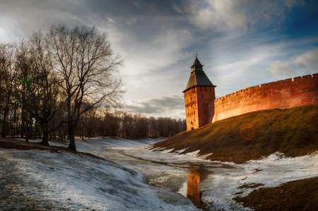 Veliky Novgorod Kremlin fortress. Saviour tower in early spring evening in Veliky Novgorod, Russia, panoramic view, hdr processing applied Sajtókép