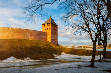 Veliky Novgorod, Russia. Palace tower of Kremlin fortress in early spring evening in Veliky Novgorod, Russia, panoramic view, hdr processing applied